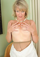 Sexy blonde Tina from AllOver30 returns again in hot white lingerie