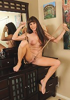 47 year old brunette Alexandra Silk sniffing her worn nyons for you