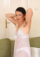 Hot 50 year old Anna B from AllOver30 showing off her furry pits