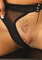 Busty cougar Leena Sky fingers her tight pussy.