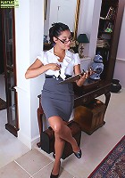 Exotic secretary Tommy Boy strips naked in the office.
