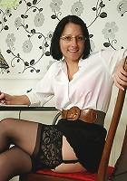 Office secretary Amber Clare masturbating in chair.