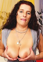 Horny 50 year old MILF uses her sagging tits to squeeze a load of jizz out of a hard cock!