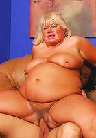 Plump granny takes a pounding from behind!