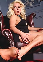 Leggy Lana shows you the power of her sexy feet on this helpless willing guy