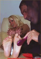 A burglar ties me up and gives me a tickle torture and uses my feet for a foot wank before escaping