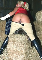 Riding in the country always leaves me horny, so I play with myself in the barn
