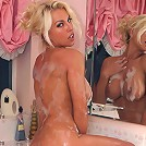Hot blonde Lana Cox prepares a nice hot bubble bath, then warms herself up, ready for your entry
