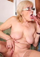 Lusty granny seduces the young man