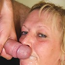 She takes cum on her granny face