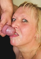 Granny gobbles his hard young meat