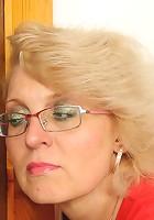 Sexy glasses on hot granny slut