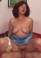 His wife comes home and finds her mom sitting on her husband's cock and riding him