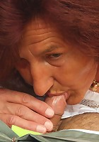 His redheaded mother in law finds him cuffed to the bed and decides to use his cock stick