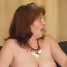She makes his dick feel great and he cums and gives a nice big mature facial for her pleasure