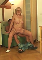 Young man with a hard body is happy to fuck this granny and give her an orgasm