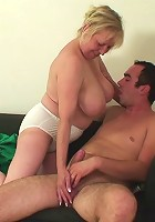 The old granny cunt is filled with the hard cock of her young son in law