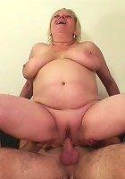 The hot granny takes a big cock in her shaved pussy and the young man loves every thrust