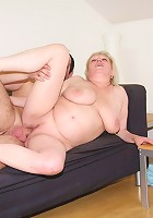 Cum craving granny gobbles him and lets him nail her sticky wet pussy before cumming