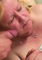 The fat granny eats cake with him and then eats his cock before he takes her slippery pussy
