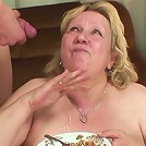 After fucking the naughty granny he gets to shoot his semen on her face