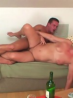 Son in law has drinks with the mature blonde and he wants to fuck her chubby hole hard