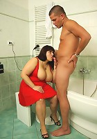 Mature babe seduces her son in law and gets him to nail her pussy bent over the bathtub