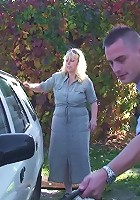 She washes the car and gets all wet and he comes along and fucks her sweet mature pussy
