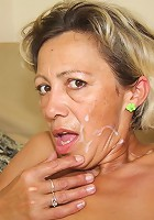 Mature blonde gives him a blowjob and her tight old pussy makes him a happy man