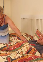 The mother in law is sucking her wife's husband and letting him fuck her mature pussy