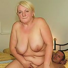 He gets head from the old blonde and her ancient pussy is then filled by his thickness