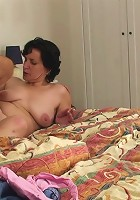 She steps from the shower to find her son in law waiting to pound her old wrinkled pussy