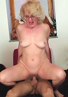 Granny is happy he returned her cell phone and she lets him have his way with her tight pussy