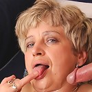Cum guzzling granny slut needs his jizz all over her and he gives her that after a hot fuck