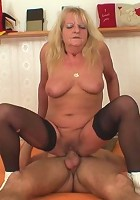 Granny needs a phone and he offers his so she can make her call and then suck his cock