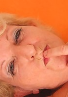 The old blonde grandmother can't help but want him to cum so she can taste his sticky jizz