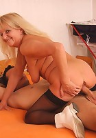 The blonde mature babe is happy to let him take her clothes off and fuck her sexy pussy
