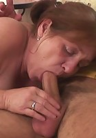 He pounds her granny pussy after bringing her home and the old babe loves his enthusiasm