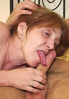 The cum craving granny whore goes home with him and the two of them have torrid sex