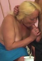 He picks her up at the bus stop and brings her back to his place to fuck her granny pussy
