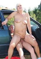 Granny gets cock in the car and outside the car in the grass and she loves every inch