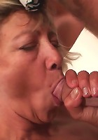 Granny slut gobbling his cock and getting on top so her old pussy gets filled up good