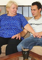 The chubby mature will blow the young man then take a place in his lap and ride him hard