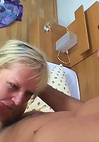 She steps into the shower to clean her mature body and he fucks her nasty pussy hard