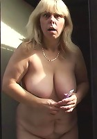 After a blowjob the mature bends over and he fills her old pussy from behind deeply