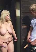 The delicious mature pussy girl is fucked in her sensual box by the young horny guy