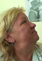 The chubby mature whore is in his bed and she wants to take his cock in her old hole