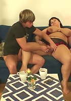 She is now his naughty old slut and the two of them are having a wild hardcore fuck