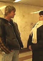 The older chick is picked up in the metro station and goes home to give head and fuck