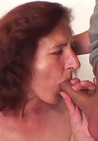 She is a sensual sweetheart and the hot grandma is boned by two fat slabs of fuck meat